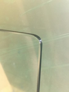 Radius corner on glass