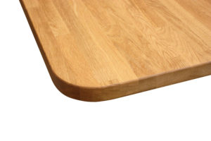 rounded corner on wooden table