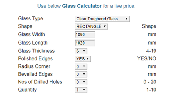 Table Glass Online - Glass Calculator